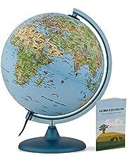Tecnodidattica Safari Globus 25 voor kinderen en jongeren, helder en draaibaar, geïllustreerde cartografie en boek met informatie, zonneklok, teksten in het Italiaanse formaat, diameter 25 cm