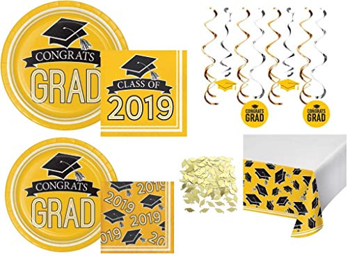 Class of 2019 Graduation School Spirit Yellow & Black Party Tableware & Decorations for 36 Guests -