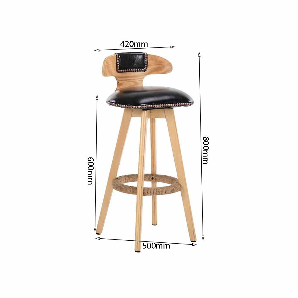 Amazon.com: Wooden Bar Stool Swivel Counter Tall Chairs Kitchen Front Stools Backrest Footrest Faux Leather Soft Padded Bistro Café Load 120Kg (Sitting ...