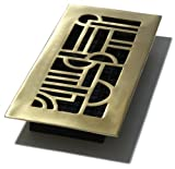 Decor Grates AD410-SB 4-Inch by 10-Inch Art Deco Floor Register, Solid Brass with Satin Brass Finish by Decor Grates