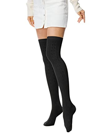 294c4489493b1 Amazon.com: Fashion Extra Long Cotton Thigh High Socks light Black ...