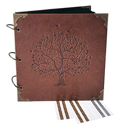 Book Engraved Guest (Love Birds, Tree of Life - Engraved Wedding Guest Book, Hard Cover Ring Bound Scrapbook, Photo Booth Album (Black Sheets, 10.5