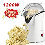 Homdox Hot Air Popcorn Machine, 1200 W Popcorn Popper, Electric Popcorn Maker with Measuring Cup and Removable Lid, No Oil Needed Great For Kids (White)