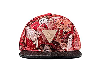 Haters Clothing Accessories Adjustable Japanese Geisha Snakeskin Print Red Snapback Cap Hater Hat for Unisex Baseball Cap