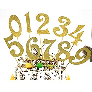 Number Cake Toppers Table 0 9 Numbers For Wedding Anniversary Or Birthday Party Decorations