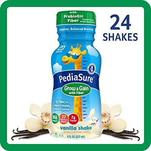 Pediasure Grow & Gain with Fiber Kids' Nutritional Shake Vanilla Ready-to-Drink 4-6-8 Fl Oz Bottles