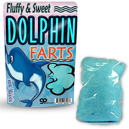 Dolphin Farts Cotton Candy - Cotton Candy Gag Gifts - Silly Stocking Stuffers - Funny Cotton Candy - Dolphin Gifts by Gears Out