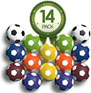 Colonel Pickles Novelties Foosball Table Replacement Foosballs- 14 Pack - 36mm Game Tabletop Size - Multi Colo