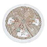 Romiracle Christmas Tree Skirt 38.58inch/98cmTree Skirt Xmas Holiday Decorations Home Party Oranments (Reindeer)