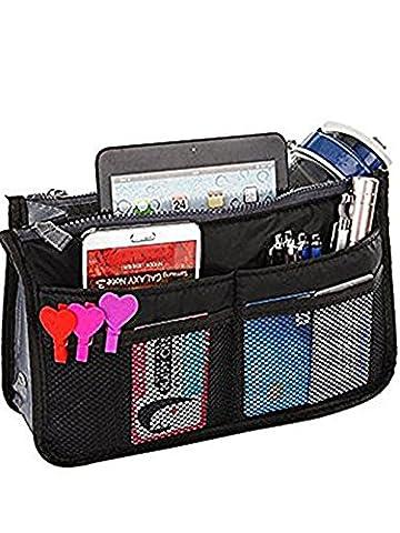 Purse Organizer Multi-Pocket Pouch Liner Insert Handbag Medium Size Tidy Bag Black