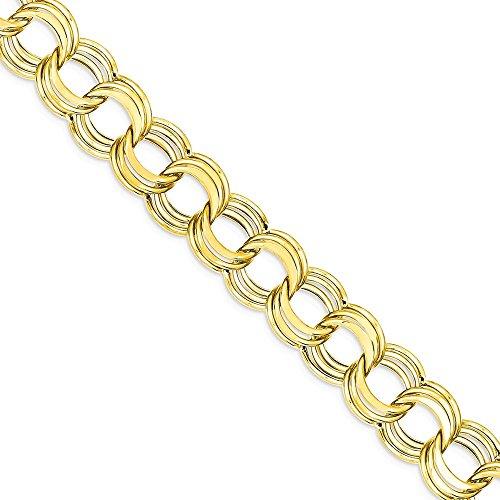 Icecarats Créatrice De Bijoux 14K Lite 11Mm Charme Triple Lien Bracelet En 7 Pouces