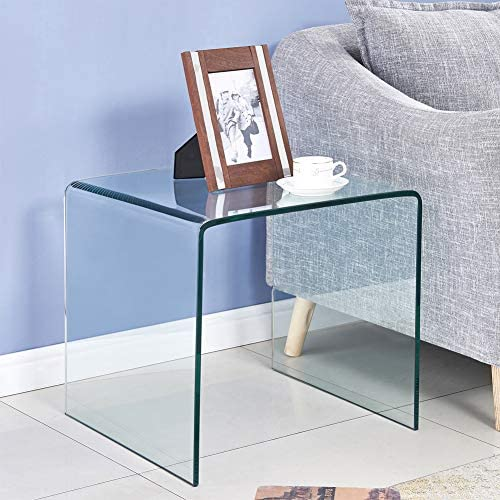 SMARTIK Clear Tempered Glass End Table