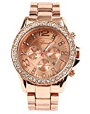 shot-in Geneva luxury alloy diamond watch with calendar (Rose Gold)