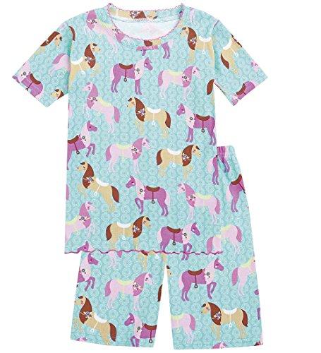 CWDKids Children's Cotton Ruffle Short Pajamas - Horse, Size 8