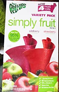 Simply Fruit Fruit Rollups Varity Pack - 42x0.5 Rolls - 90% Fruit Juice & Real Fruit (Wildberry & Strawberry)
