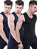 Men's 3 Pack Ice Silk Undershirts T Shirt V Neck Fitness Tank Tops Vest (Blue+Blue+Black, Tag 2XL=US L)