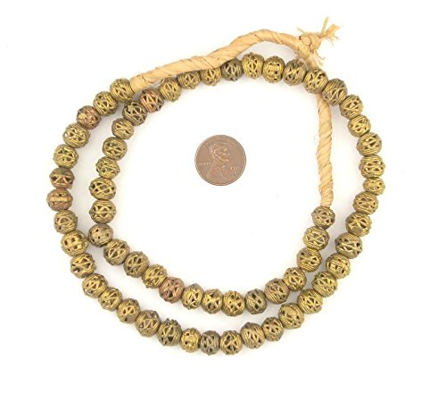 Beads - Full Strand of Fair Trade African Metal Beads - The Bead Chest (8mm, Criss Cross) ()