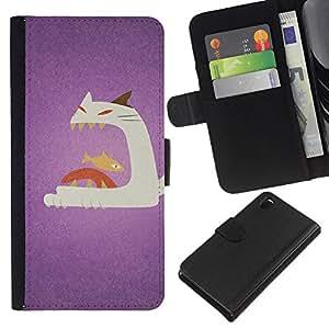 Cat Fish Big Mouth Art Painting - la tarjeta de Crédito Slots PU Funda de cuero Monedero caso cubierta de piel Sony Xperia Z3 D6603