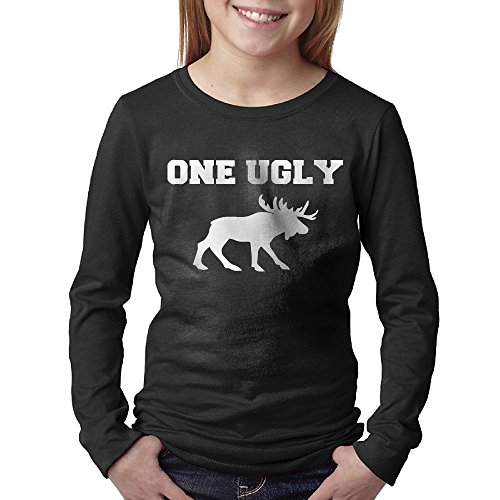 Youths Ugly Moose Funny Animal Present Long Sleeve T Shirts X Large