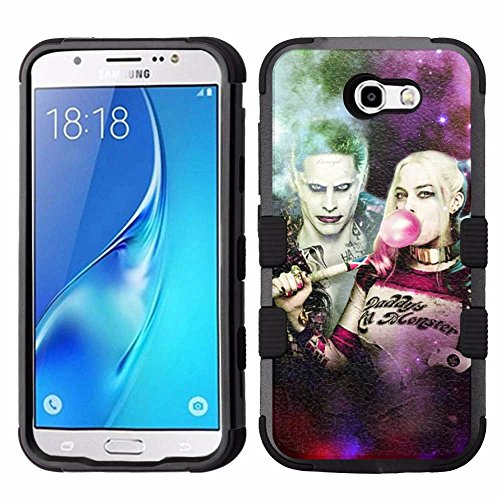 Galaxy J7 V Case, Galaxy J7 Perx Case, Galaxy J7 Sky Pro Case, J7 2017 Case, Hard+Rubber Dual Layer Hybrid Heavy-Duty Rugged Armor Cover Case - Suicide Squad Harley Quinn & Joker