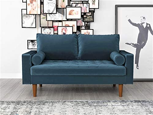 Container Furniture Direct S5456 Mid Century Modern Velvet Upholstered Tufted Living Room Loveseat, 50.39 , Prussian Blue