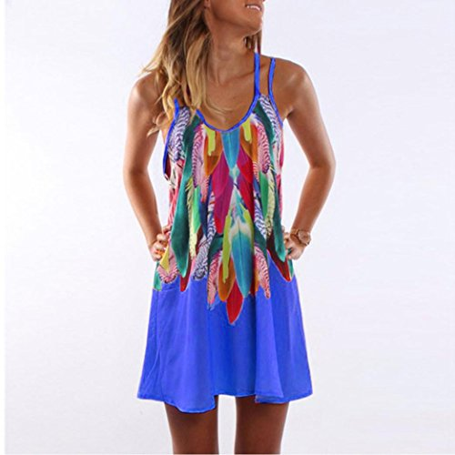 Sneaky in chiffon Mini Peak Blue Bohemian senza Swool gonna Collar maniche stampa con Overdose donna gonna Hnf7Sgqxw