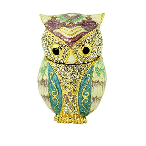 EchoMerx Bejeweled Owl Trinket Box Blue Gold with Austrian Crystals (Cloisonne Lined Box)