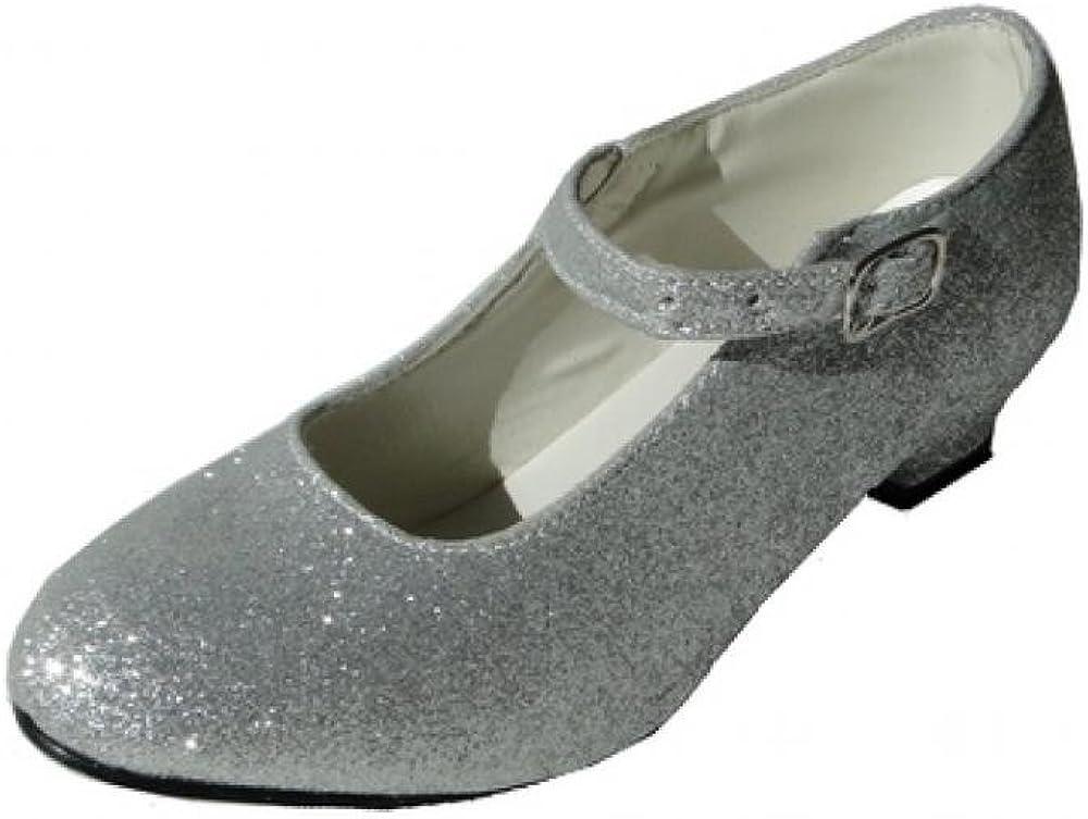 Zapatos de tacón grises con purpurina plateada para niñas y adultas, zapatos de baile para flamenco y tango, (Argenté Pailleté), 36 EU
