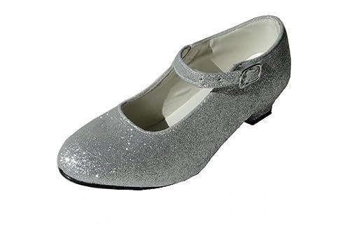 a8d04b81ffd9b8 CB Chaussures Escarpin Gris à Paillettes argenté de Danse Flamenco/Tango  Fille Fillette Adulte Femme: Amazon.fr: Chaussures et Sacs