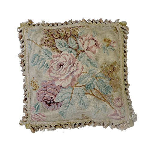 (C&F Home Peach Rose Bouquet Needlepoint Pillow 17 x 17 Tan)