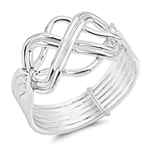 Double Lined Infinity Puzzle Knot Sterling Silver Womens Ring Sizes 5-13