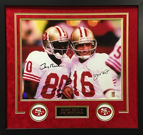 (Jerry Rice Joe Montana San Francisco 49ers DUAL Signed Autograph Custom Framed Photo 16x20 Suede Matting to 26x28 Photograph Player Hologram & JSA Witnessed Certified)