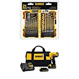 Dewalt DCD771C2 20V MAX Cordless Lithium-Ion 1/2 inch Compact Drill Driver Kit and Drill Bit Set, 21-Piece