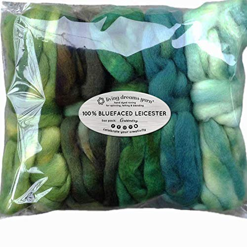 - Spinning Fiber Super Soft BFL Wool Top Roving drafted for Hand Spinning with Drop Spindle or Wheel, Felting, Blending and Weaving. Variegated Hand Dyed Mini skeins. 5 Ounce Discount Pack, Greenery