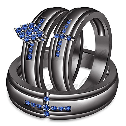 ArtLine Jewels Black Gold Plated Alloy 1.50Ct Round Cut Blue Sapphire His/Her Engagement Trio Ring Set by ArtLine Jewels
