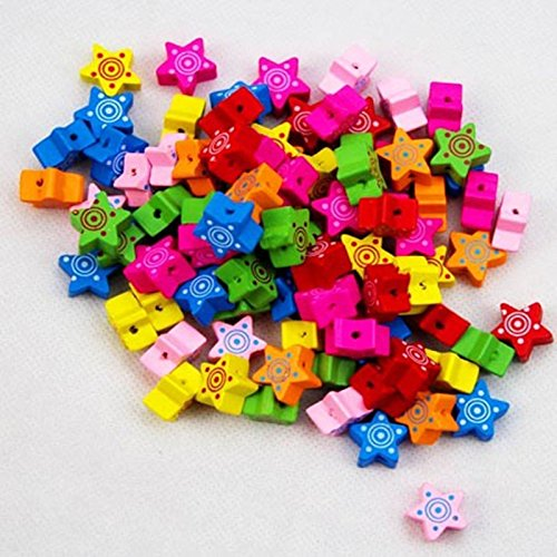 Thanksgiving Christmas Gift decoration Mixed Color Wood Five Pointed Star Beads Charms Jewelry Making Children Handmade DIY Materials