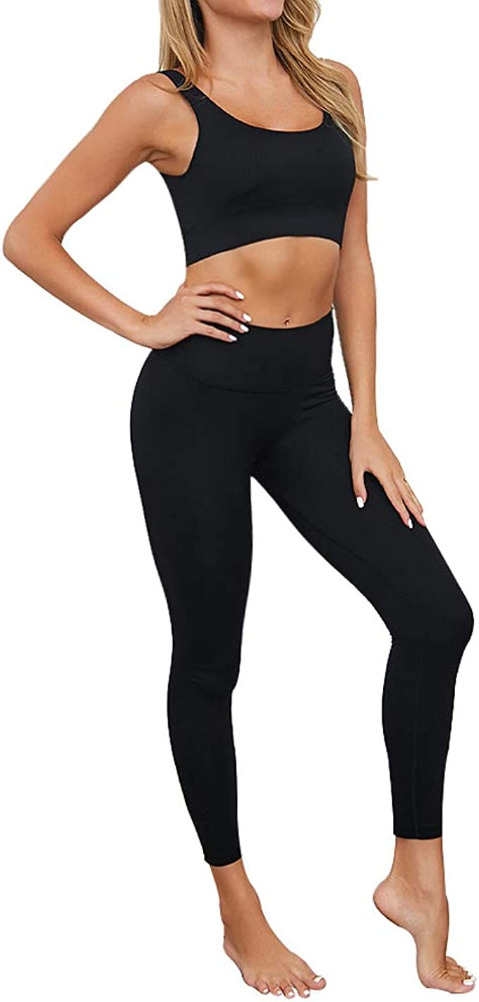 bbmee Exercise Outfits for Women 2 Pieces Ribbed Seamless Yoga Outfits Sports Bra and Leggings Set Tracksuits 2 Piece