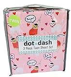 Dot and Dash Pink Paris Bonjour Eiffel Tower French Cats 3 Piece Twin Sheet Set