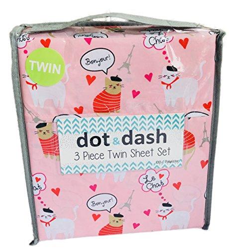 Dot and Dash Pink Paris Bonjour Eiffel Tower French Cats 3 Piece Twin Sheet Set (Paris Twin Sheets)