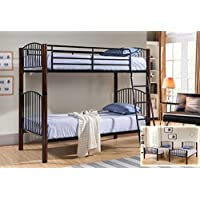 Kings Brand Black & Walnut Finish Metal Twin Size Convertible Bunk Bed (Bunkbed)