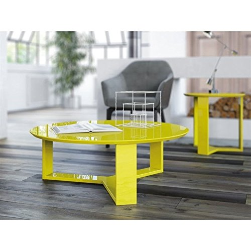 Manhattan Comfort Madison 1.0 Series Round Coffee Table in Yellow - Accent Table Series