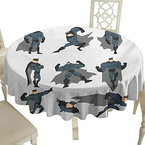 Zodel Waterproof Tablecloth Superhero Fun Cartoon Man in Costume Posing Hero Flying Running with Superpowers Art Print Table Decoration D36 Suitable for picnics,queuing,Family ()