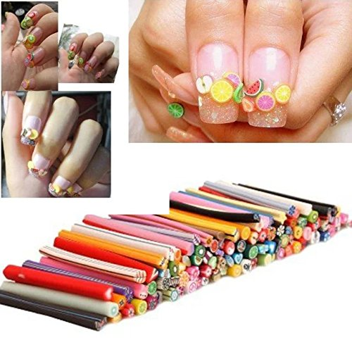Brendacosmetic 100pcs 3D Nail Art Fimo Canes Sticker Acrylic UV Nail Art Decoration tips kits (How To Do Cat Makeup For Halloween)