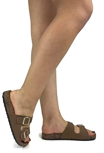 059c9f0d0d3d Anna Women s Double Strap Cork Sole Slide Sandal Buckle