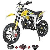 X-PRO Bolt 50cc Dirt Bike Gas Dirt Bike Kids Dirt Bikes Pit Bikes Youth Dirt Pitbike 50cc Mini Dirt Bike with Gloves, Goggle and Handgrip,Yellow