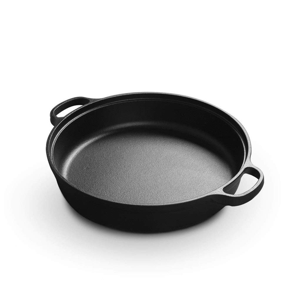 ZYK Frying pan - double ear pot cast iron frying pan, thick pancake pot uncoated cake pot iron pot non-stick pan household gas universal (size: 28cm) by ZYK