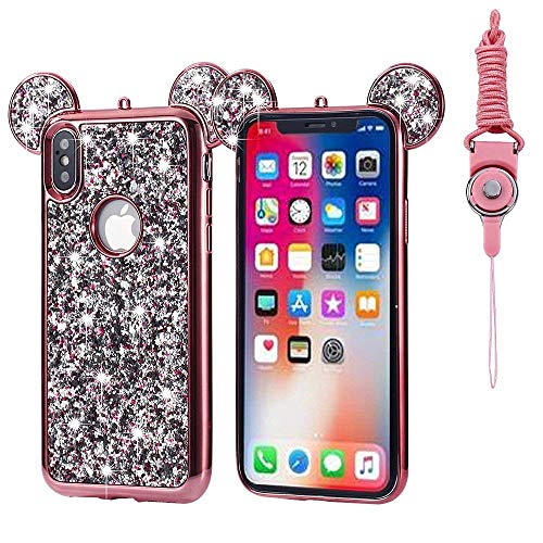 iPhone Xs Max Case, Umiko(TM) Super Cute Sparkle Bling Bling Glitter 3D Mickey Mouse Ears Soft Protective TPU Rubber Case with Strap for Apple iPhone Xs Max 6.5 Inch, Rose Gold