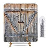 Riyidecor Rustic Shower Curtain Barn Door Wooden Farmhouse Barnwood Vintage Brown Extra Long Decor Fabric Set Polyester Waterproof 72x84 Inch 12-Pack MetalHooks