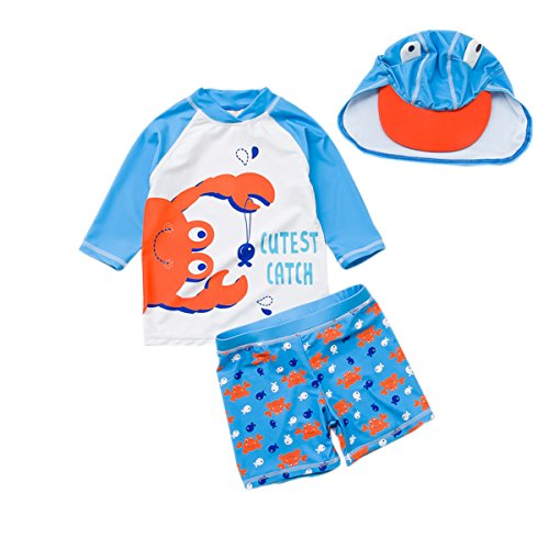 Baby Toddler Boys Two Pieces Swimsuit Set Boys Long Sleeve Crab Bathing Suit Rash Guards With Hat UPF 50+ Blue 1-2T