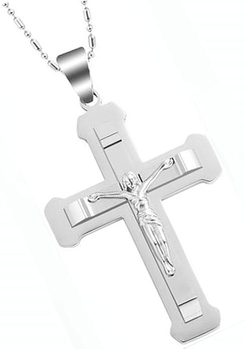 AieniD - Acero Inoxidable Colgante Collar de Hombre Clavado Cadena Jesús Crucifijo Cruz Latina Plata 54X38Mm Joyas de Moda: Amazon.es: Joyería